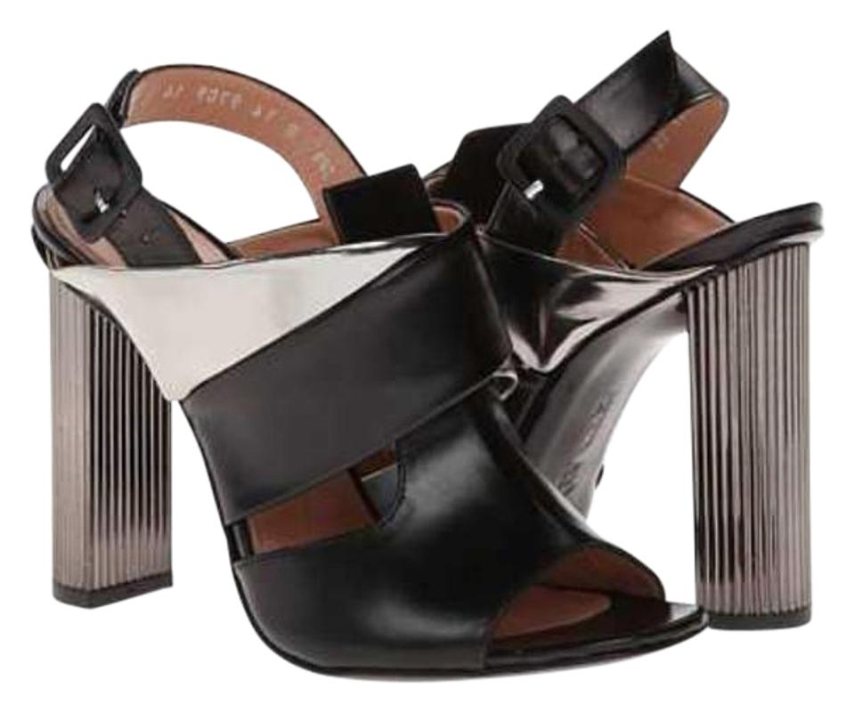 d61226163e7f Robert Clergerie High Size 6.5 Black   Silver Metallic leather Sandals  Image 0 ...