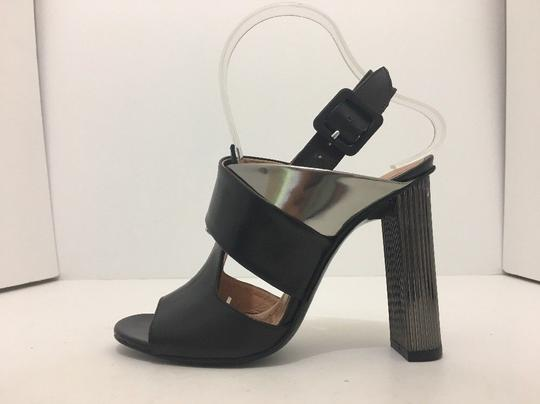 Robert Clergerie High Size 6.5 Black / Silver Metallic leather Sandals