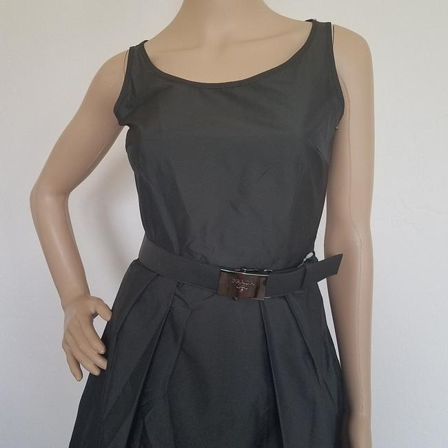 Black, Silver Maxi Dress by Prada A-line Sleeveless Logo Belted Hardware
