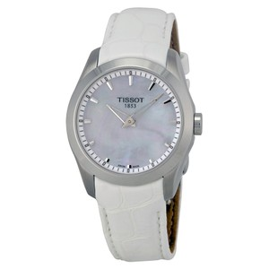 Tissot Couturier Grande Mother of Pearl Dial White Leather Ladies Watch