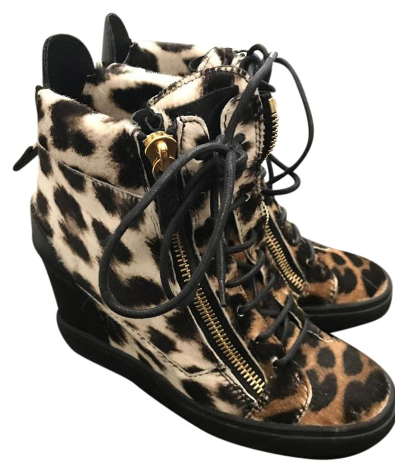 8166b7e6f Giuseppe Zanotti Calf Hair Leather Wedge Sneaker Cheetah Print Platforms  Image 0 ...