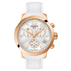 Tissot Quickster Chronograph Mother Of Pearl Dial White Silicone Ladies Sport
