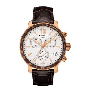 Tissot Quickster Chronograph White Dial Brown Leather Men's Watch