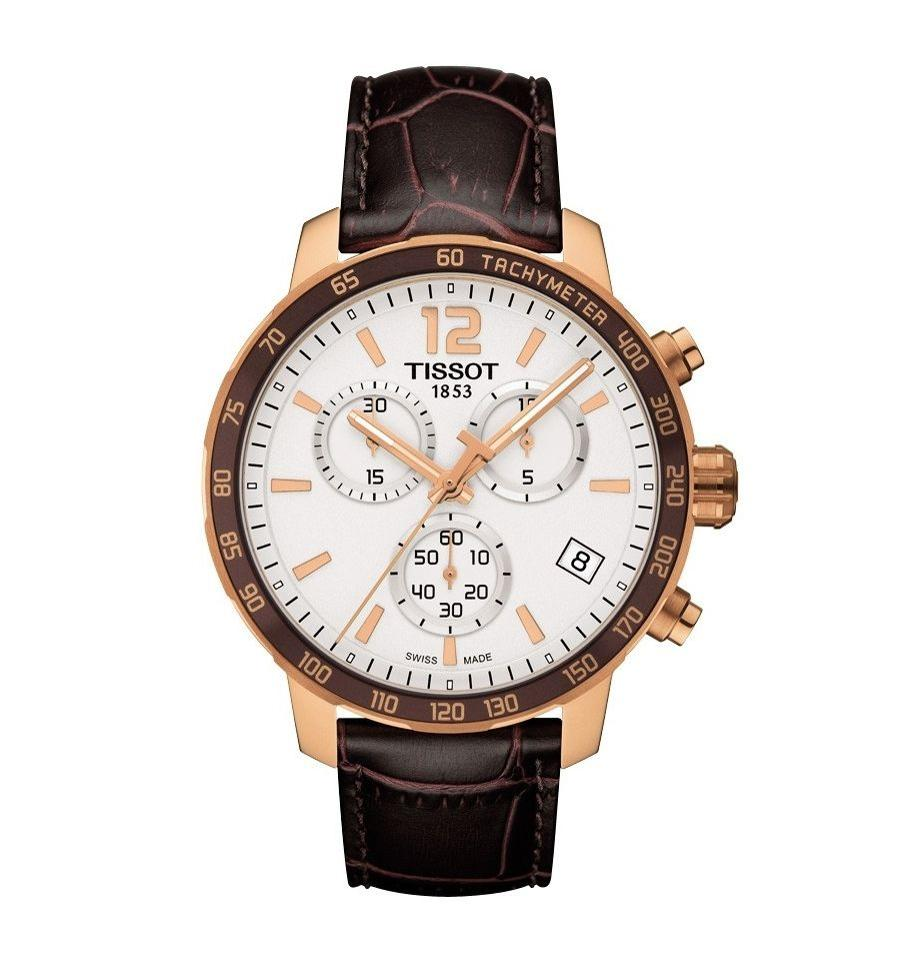 a4700ac222 Tissot Quickster Chronograph White Dial Brown Leather Men's Watch Image 0