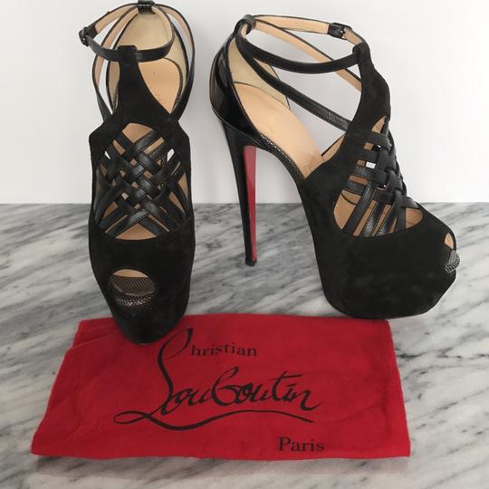 Christian Louboutin Red Sole Matte Leather Made In Italy Black Suede Platforms