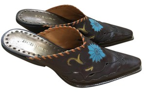 BCBGMAXAZRIA Flower Insets Leather Unique Western Brown Mules - item med img