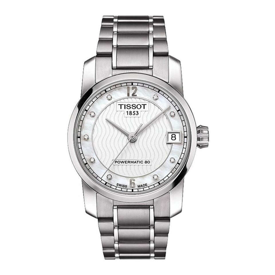 f422cb79a Tissot T-Classic Automatic Mother of Pearl Dial Titanium Ladies Watch Image  0