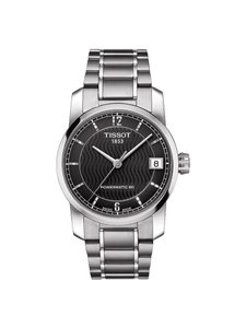 Tissot T-Classic Automatic Black Dial Titanium Ladies Watch