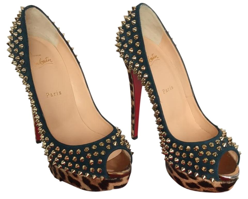 18baaca2a31b Christian Louboutin Spiked Suede Red Sole Lady Leopard Print Platforms  Image 0 ...