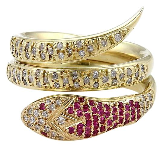 Preload https://img-static.tradesy.com/item/21913277/yellow-gold-red-ruby-estate-105ct-diamond-and-18k-snake-wrap-ring-0-1-540-540.jpg