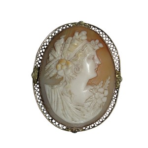 Vintage Edwardian 14 kt Gold & Shell Cameo Woman's Profile Brooch Pendant