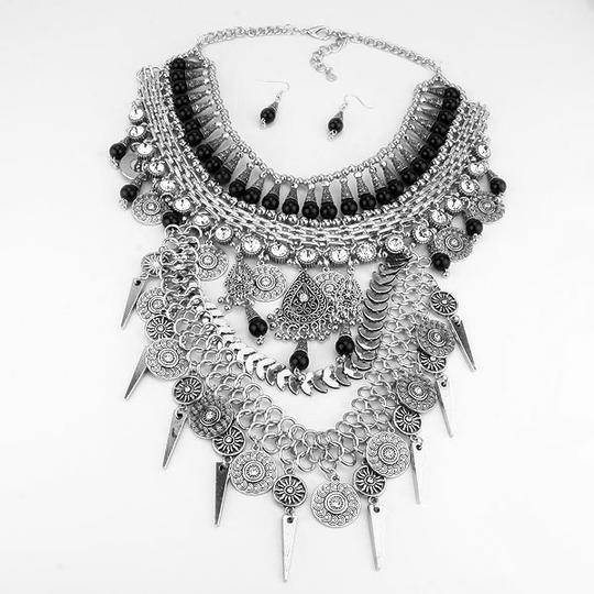Other Crystal Accent Silver Boho Tribal Necklace and Earring