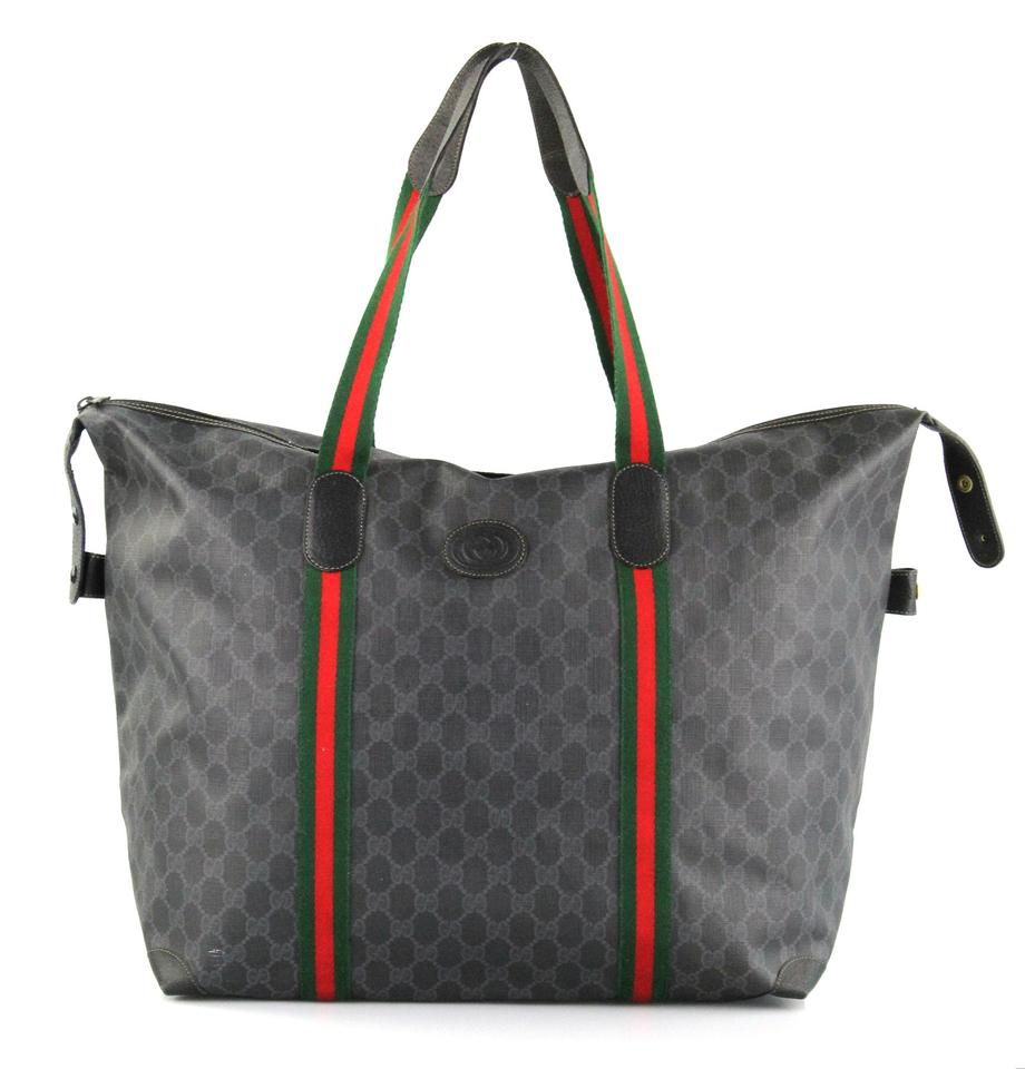 9b37af7fc58d Gucci Web Gg Extra Large Black And Gray Guccissima Tote Bag | Totes ...