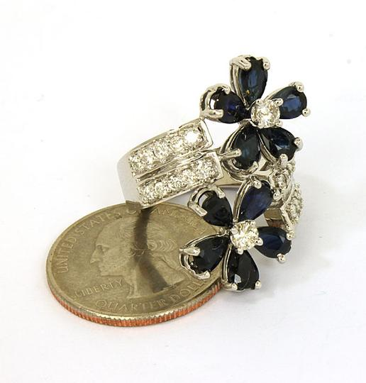 Other 4ctw Diamond & Blue Sapphire Floral Bypass 14k White Gold Ring