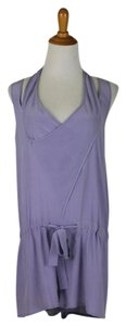 Babakul Dropped Waist Silk Drawstring Racer-back Purple Dress