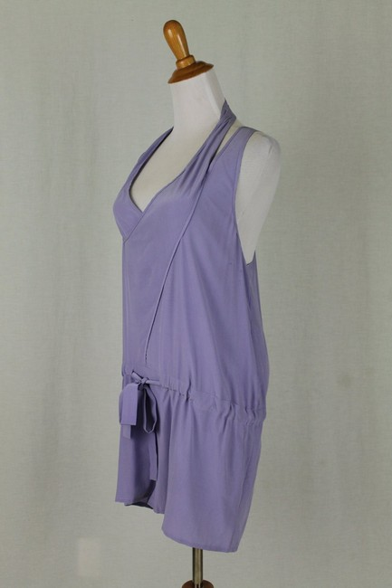 Babakul Dropped Waist Silk Drawstring Racer-back Purple Dress Image 1