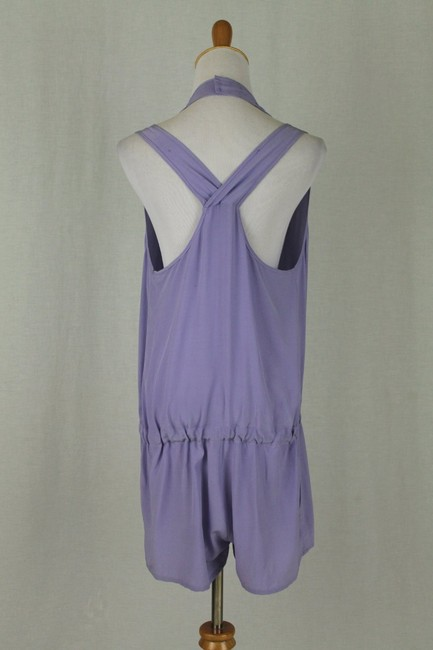 Babakul Dropped Waist Silk Drawstring Racer-back Purple Dress Image 2