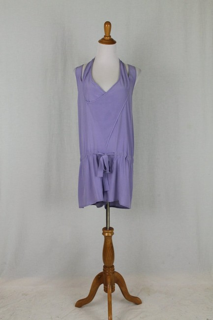 Babakul Dropped Waist Silk Drawstring Racer-back Purple Dress Image 3