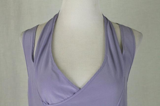 Babakul Dropped Waist Silk Drawstring Racer-back Purple Dress Image 4