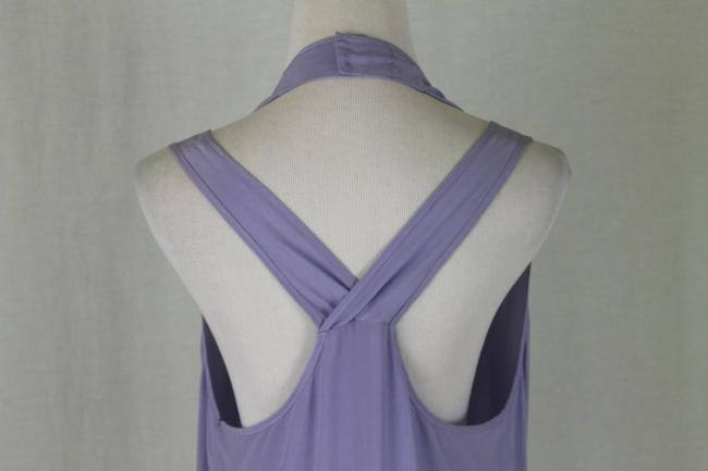Babakul Dropped Waist Silk Drawstring Racer-back Purple Dress Image 5