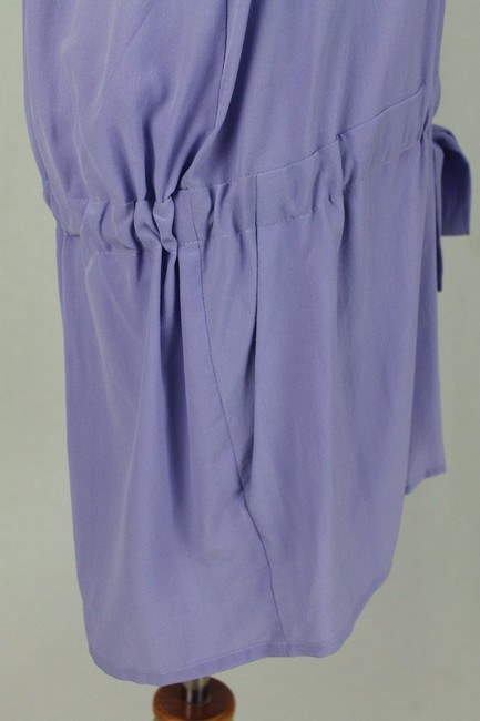 Babakul Dropped Waist Silk Drawstring Racer-back Purple Dress Image 6