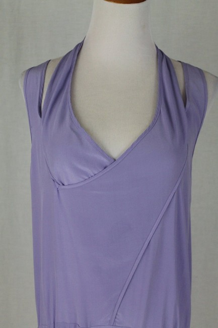 Babakul Dropped Waist Silk Drawstring Racer-back Purple Dress Image 7