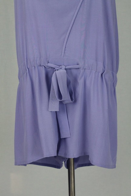 Babakul Dropped Waist Silk Drawstring Racer-back Purple Dress Image 8