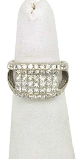 Other 2.15ctw Round & Princess Cut Invisible Set Diamond 18k White Gold Ring