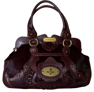 Lockheart Calf Hair Half Frame Convertible Removable Strap Pony Hair Satchel in Burgandy