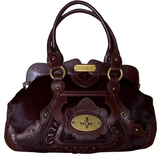 Lockheart Calf Hair Half Frame Convertible Removable Strap Pony Hair Satchel in Burgandy Image 0