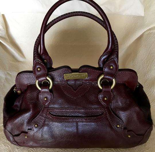 Lockheart Calf Hair Half Frame Convertible Removable Strap Pony Hair Satchel in Burgandy Image 1