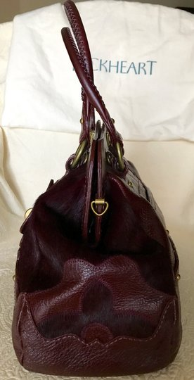Lockheart Calf Hair Half Frame Convertible Removable Strap Pony Hair Satchel in Burgandy Image 2