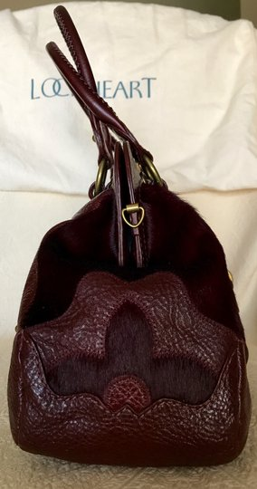 Lockheart Calf Hair Half Frame Convertible Removable Strap Pony Hair Satchel in Burgandy Image 3