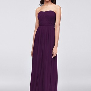 David's Bridal Plum Mesh/Polyester Versa Convertible Formal Bridesmaid/Mob Dress Size 10 (M)