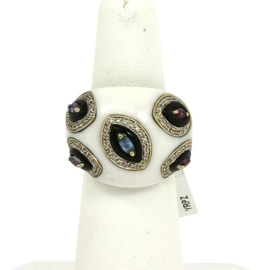 Other Diamond Amethyst Pink & Blue Tourmaline White Onyx 18k White Gold Ring