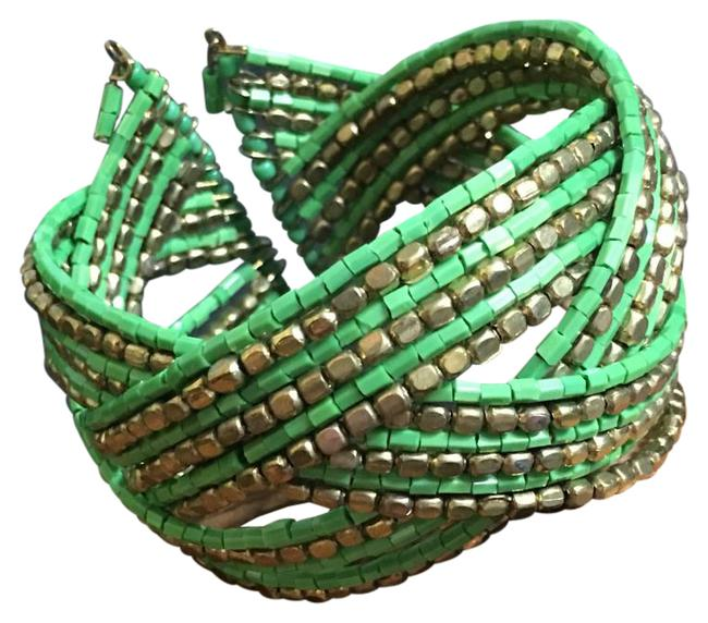 Unbranded Gold / Green Metal / Beaded Cuff Bracelet Unbranded Gold / Green Metal / Beaded Cuff Bracelet Image 1