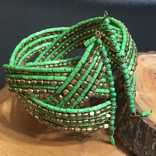 Boutique Metal Gold / Green Beaded Cuff Bracelet
