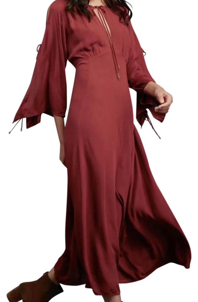 3f10f97caad9 Free People Burgundy Endless Summer Babydoll Cold Shoulder Casual Maxi Dress