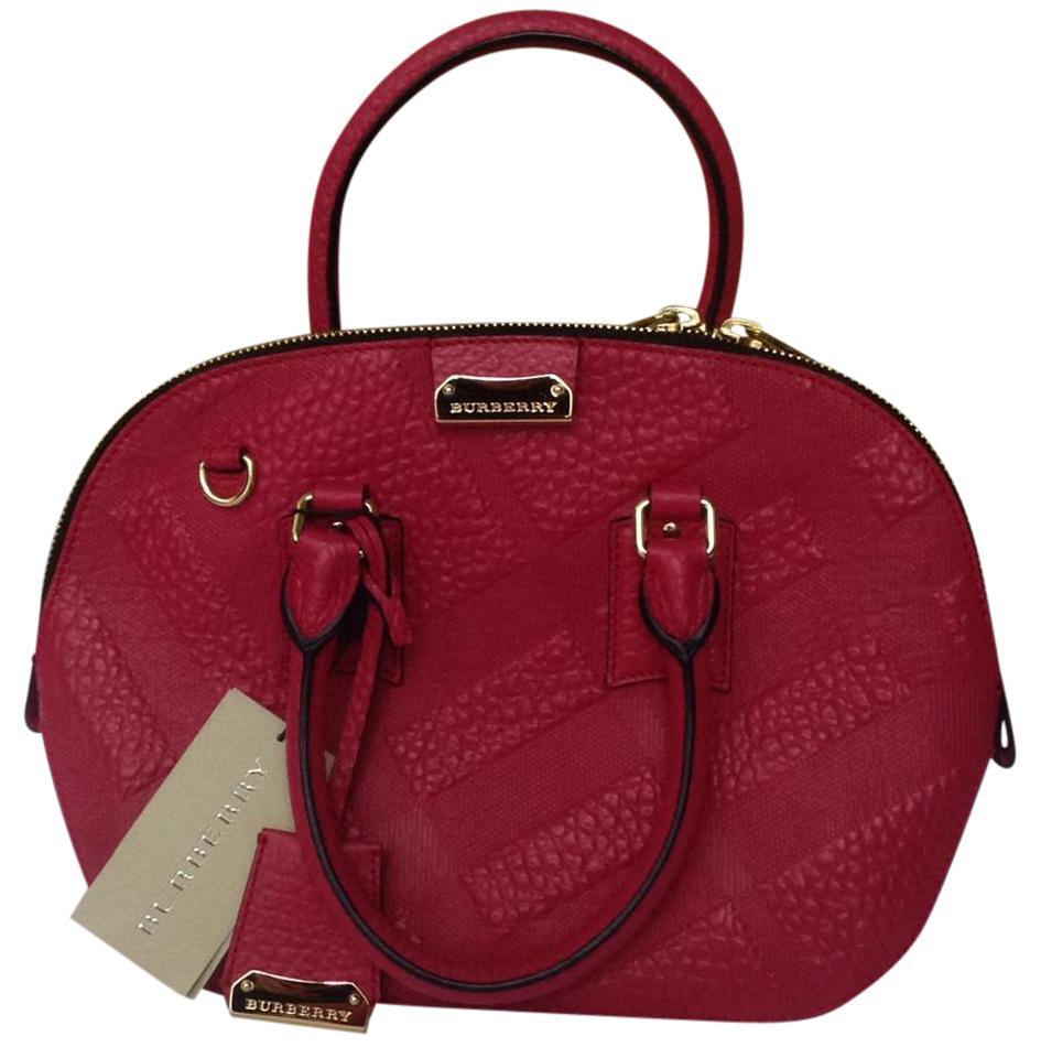 b590078e68e5 Burberry Small Orchard Check Embossed Vibrant Fuchsia Leather Satchel