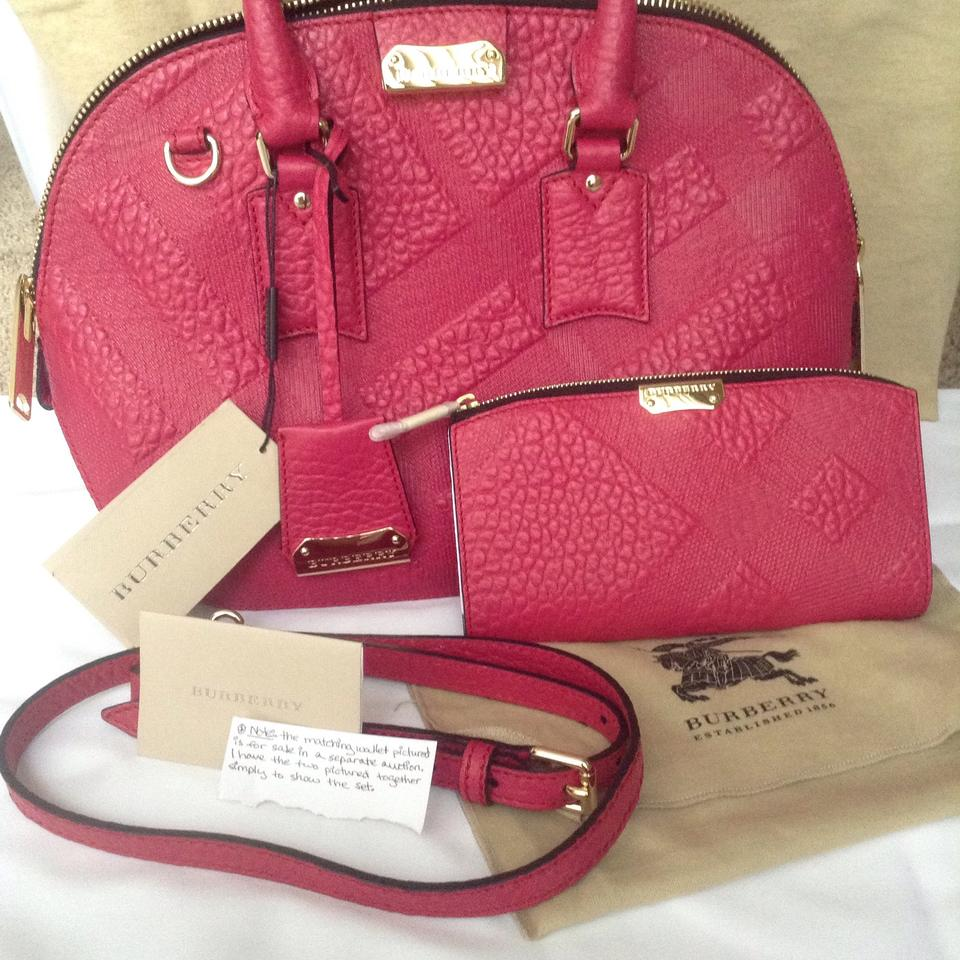77711ad3516 Burberry Small Orchard Check Embossed Vibrant Fuchsia Leather ...