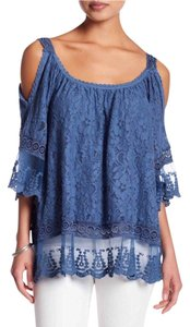 Luma Cold Shoulder Tunic Top Blue