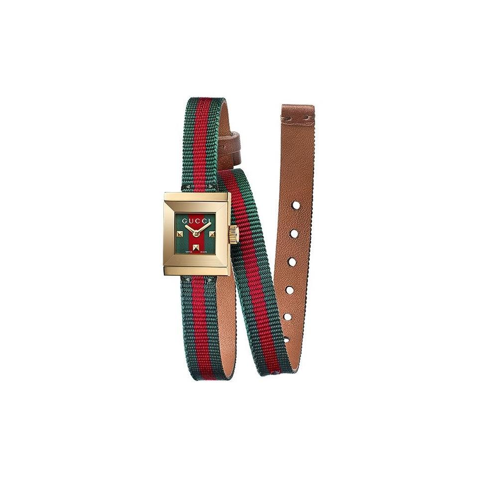 Gucci Red Green Brown G-frame Dial Ladies Canvas Watch - Tradesy