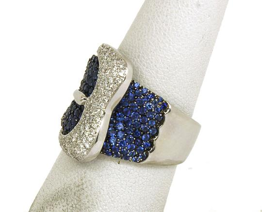 Other 4ct Diamonds Sapphires 18k White Gold Belt & Buckle Band Ring