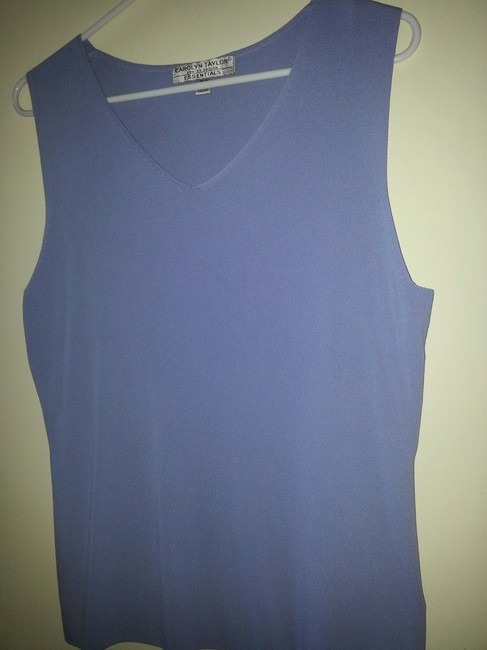 Carolyn Taylor Office Casual Sleeveless V-neck Top Periwinkle Light Blue
