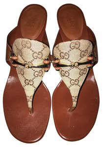 Gucci Leather Canvas Gold Hardware Kitten Brown Mules