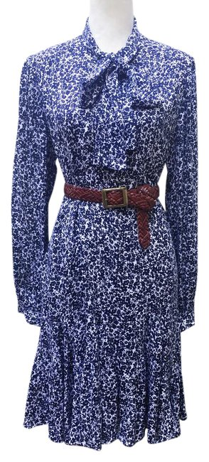 Item - Navy Floral Pussy Bow Mid-length Cocktail Dress Size 12 (L)