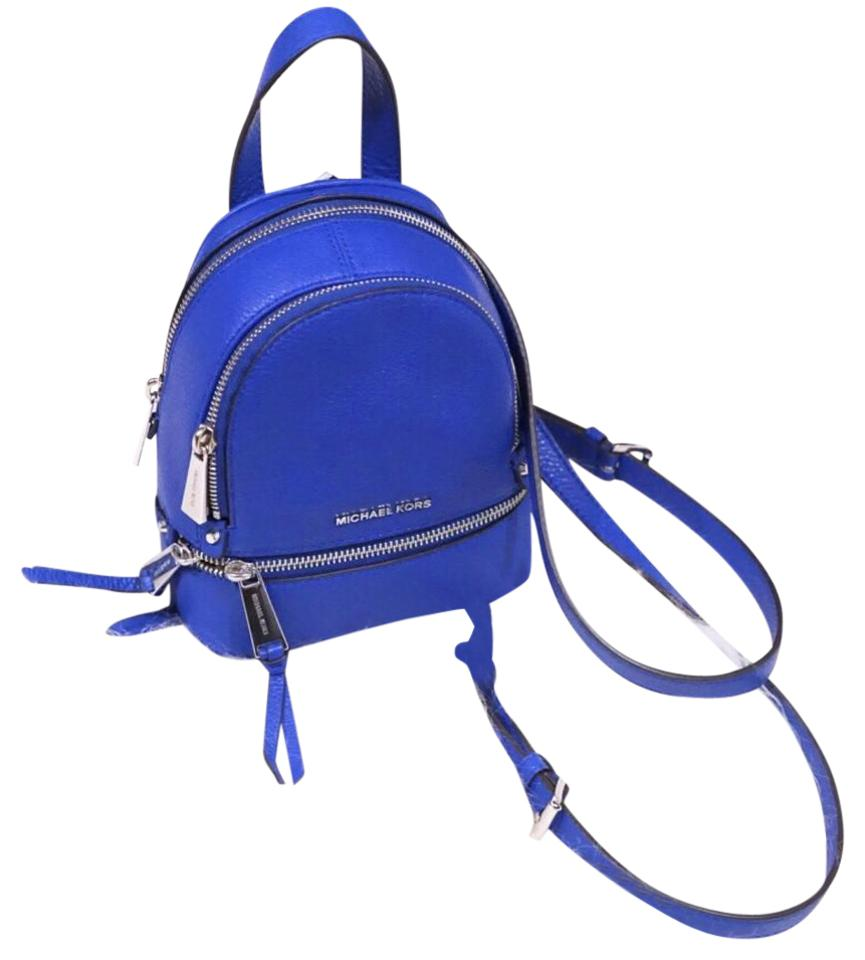 4dda087848f607 Michael Kors Rhea Zip Xs Mini Blue Leather Backpack - Tradesy