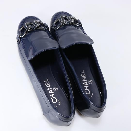 Chanel G32310 Stitched Shiny Blue Flats
