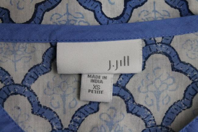 J. Jill French Cotton Voile Long Sleeves Provencial Print Tunic Top Blue and white