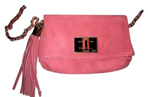 Emilio Pucci Suede Tassels Printed Lining Gold Chain Shoulder Bag